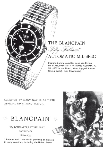 Advertisement for the original Blancpain Fifty Fathoms